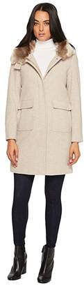 Lauren Ralph Lauren Faux Fur Lined Wool w/ Hood and Patch Pocket (Platinum Heather) Women's Coat