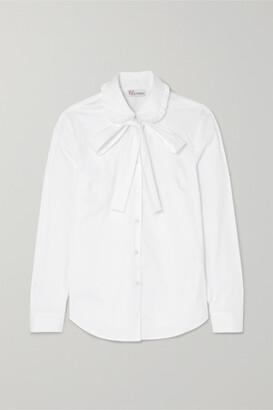 RED Valentino Pussy-bow Stretch Cotton-blend Poplin Shirt - White