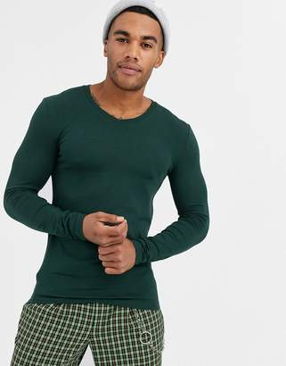 Asos Design DESIGN long sleeve muscle fit t-shirt with v neck in green