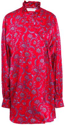 Seren London Oversized Ruffle-trimmed Floral-print Silk-twill Mini Wrap Dress