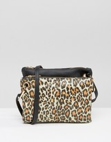 Asos Double Compartment Leopard Print Cross Body Bag
