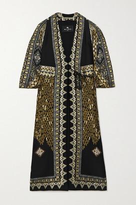 Etro Metallic Wool-blend Jacquard Coat - Black