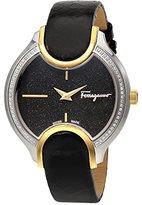 Salvatore Ferragamo Women's 'Signature' Quartz Stainless Steel and Leather Casual Watch, Color:Black (Model: FIZ090015)