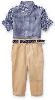 Ralph Lauren Poplin Gingham Button-Down Shirt w/ Pants & Belt, Size 9-24 Months