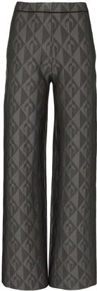 Marine Serre Jacquard-Knit Wide-Leg Trousers