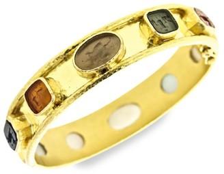 Elizabeth Locke Venetian Glass Intaglio 19K Yellow Gold Narrow Bangle Bracelet