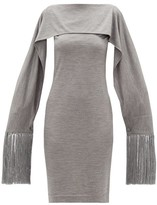 Burberry Fringed-cuff Merino-wool Dress - Womens - Grey