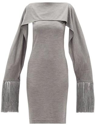 Burberry Fringed-cuff Merino-wool Dress - Womens - Grey