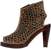 Salpy Brown Peep-Toe Booties