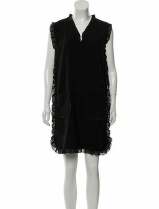 Boutique Moschino V-Neck Mini Dress w/ Tags Black