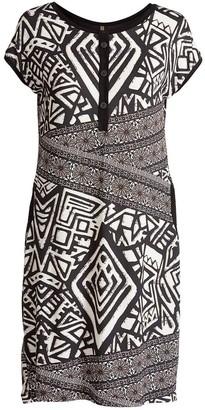 Conquista Print Sack Dress With Button Detail