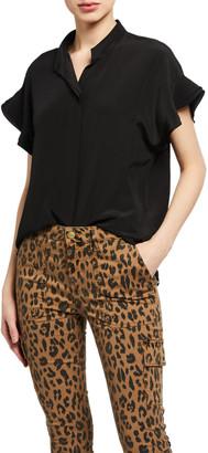 Frame Flounce Short-Sleeve Silk Top