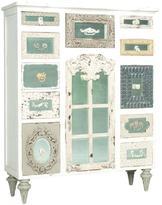 60 in. x 48 in. 11-Drawer Garden Lattice White and Antiqued Mirror Mosaic Chest
