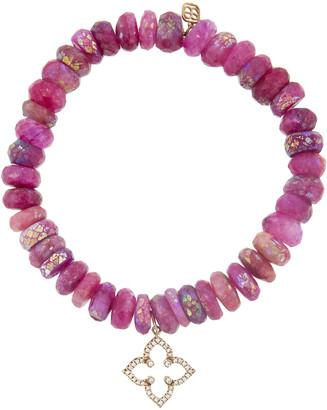 Sydney Evan Diamond Moroccan Star Charm On Moonstone Beaded Bracelet - Rose Gold