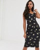 Asos Design DESIGN floral tie back midi dress