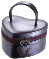 Boutique Purple Metallic Heart Jewellery Box with Leopard Print Linging