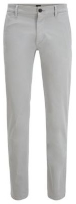HUGO BOSS Slim Fit Casual Chinos In Brushed Stretch Cotton - Light Blue