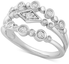 Wrapped Diamond Multi-Row Bezel Ring (1/3 ct. t.w.) in 14k White Gold, Created for Macy's