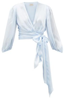 Alexandre Vauthier Balloon-sleeve Tie-front Silk-satin Blouse - Light Blue