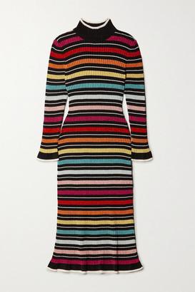 Mary Katrantzou Rain Striped Metallic Ribbed-knit Midi Dress - Black