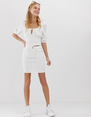 Pieces denim mini skirt in white