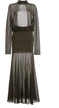 Victoria Beckham Open-Back Metallic-Knit Maxi Dress