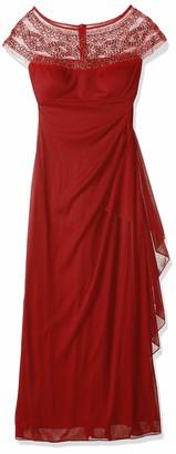R & M Richards R&M Richards Women's One Piece Sleeveless Long Mesh Missy Beaded Yolk Gown