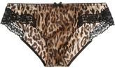 Dolce & Gabbana Leopard-print stretch-silk satin briefs