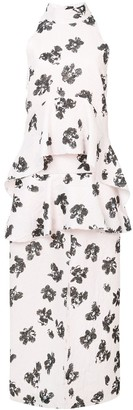 Proenza Schouler Floral Print Draped Dress