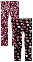 Betsey Johnson Emoji Print & Heart Print Leggings - Set of 2 (Little Girls)