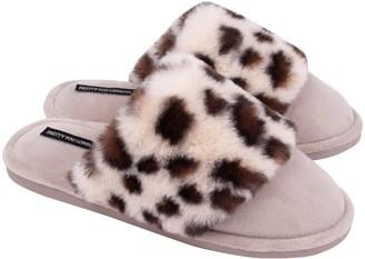 Pretty You London Danni Super-Soft Mule Slippers In Animal Pattern