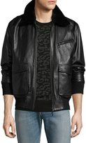 Ovadia & Sons Drakon Lamb Leather Bomber Jacket with Shearling Collar, Black