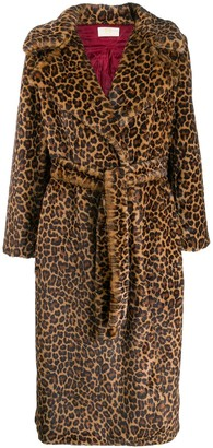 Sara Battaglia leopard print belted coat