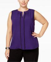 Calvin Klein Plus Size Split-Neck Shell