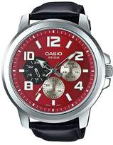 Casio MTP-X300L4AV Men's Enticer Leaher Band Multifunction Dial Watch