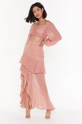 Nasty Gal Womens We've Dot the Moves Ruffle Maxi Skirt - Pink - 10