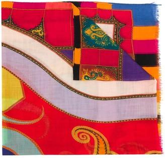 Etro Block Color Printed Cashmere Scarf