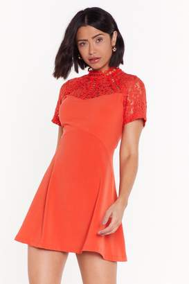 Nasty Gal Womens Friends in High Laces Fit & Flare Dress - orange - L