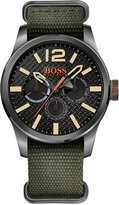 BOSS ORANGE Men's Paris Green Grosgrain Strap Watch 47mm 1513312