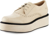 CNC Costume National Lace-Up Flatform Leather Oxford, White