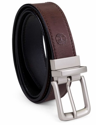 Timberland Men's Big-tall Classic Leather Belt Reversible From Brown To Black Big and Tall