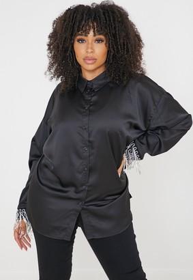 Missguided Plus Size Black Satin Diamante Trim Oversized Shirt
