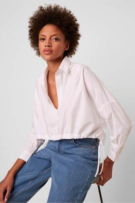 French Connection Zain Long Sleeve Cropped Drawstring Hem Shirt