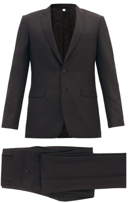 Burberry Single Breasted Wool Blend Crepe Suit - Mens - Black