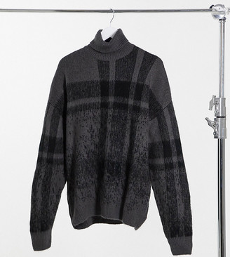 ASOS DESIGN Tall textured ombre plaid rollneck sweater in charcoal