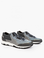 Lanvin Grey Leather And Mesh Running Sneakers