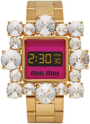 Miu Miu Gold and Pink Crystal Watch Bracelet