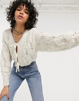Asos Design DESIGN cable cardi with tie front detail