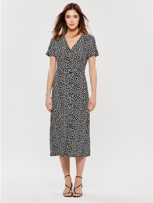M&Co Button front floral midi dress
