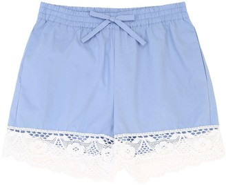 Ermanno Scervino Cotton Poplin Shorts W/Lace